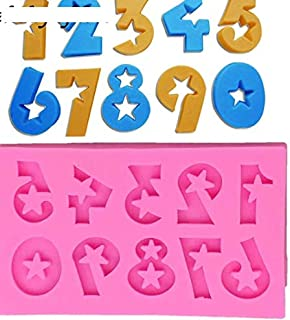 S.Han Silicone Number 0-9 Number Moulds Fondant Mold Cake Mold Cupcake Baking Tool Resin