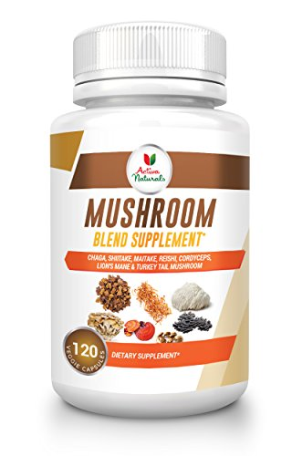 Mushroom Supplement with Turkey Tail, Reishi, Lion Mane, Maitake, Cordyceps, Chaga & Shiitake Mushrooms, 120 Veggie Capsules
