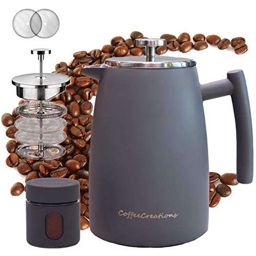 Coffee Creations French Press Coffee Maker, Stainless Steel Thermal Insulated Brewer Superior Filtration System with 2 Extra Filters 34 oz (Gray)