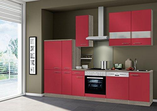 idealShopping Küchenblock Imola mit Geschirrspüler und Ceranfeld in rot glänzend 300 cm breit