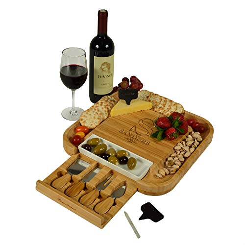 Custom Personalized Engraved Bamboo Cutting Board for Cheese & Charcuterie with Ceramic Dish, Knife Set & Cheese Markers -by Picnic at Ascot USA