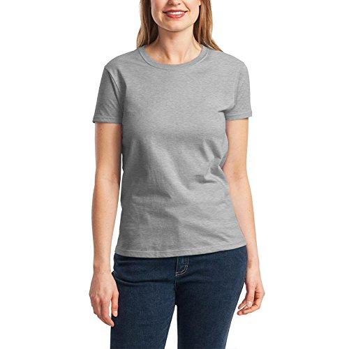 レディース Tシャツ 無地 クルーネック シンプル スポーツウェア カジュアル オシャレ ファッション 半袖 コットン 丸首 厚手 綿100% グレー XL [3341]