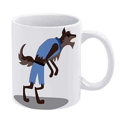 Taza de café de dibujos animados de fantasía de Halloween de hombre lobo, taza de cerámica, taza de bebida de té para el hogar y la oficina, cumpleaños, aniversario, Halloween, Navidad, día de San Val