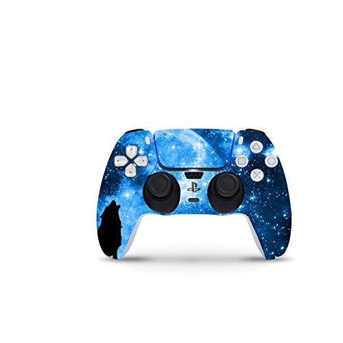 PS5 Controller Skin De 46 North Design, Misma Calidad Que Las Calcomanías De Coche, Lobo Manada Azul Luna Cielo Estrellas Noche, Alta Calidad, Duradera, Compatible Con PS5 W/Disk, Fabricado En Canadá