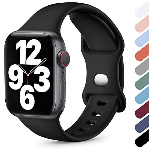 Upeak Compatible avec Bracelet Apple Watch 38mm 40mm 42mm 44mm, Silicone Souple Sport Bracelet Compatible avec iWatch Series SE 6 5 4 3 2 1, 42mm/44mm-M/L, Noir