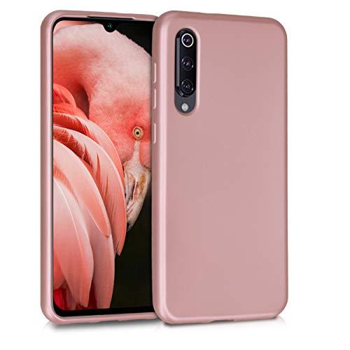 kwmobile Funda Compatible con Xiaomi Mi 9 SE - Carcasa móvil de Silicona - Protector Trasero en Oro Rosa Metalizado