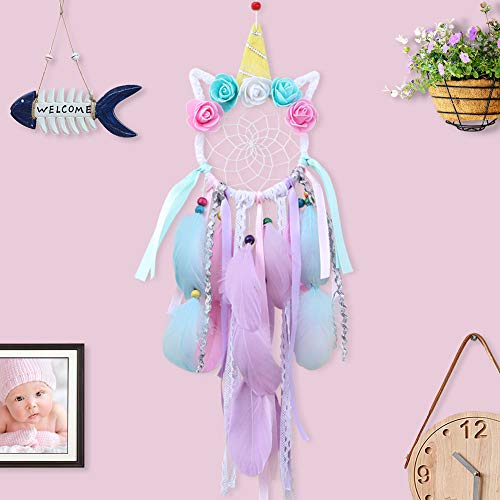 AerWo Unicorn Dream Catchers for Kids, Handmade Pink Dream Catcher for Girls Bedroom Feather Flower Wall Hanging Decorations Kids Room Decor