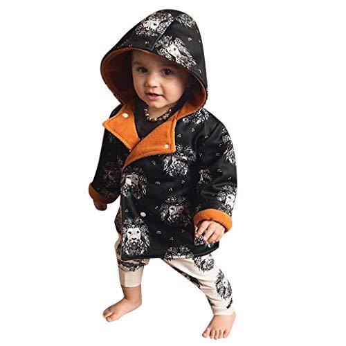 Hui.Hui Trench-Coat Chaud à Capuche avec Imprimé Lion,Hiver Pas Cher Ensemble Cardigan Pull Pullover Vêtements Manteau Noël Cadeau pour Enfants