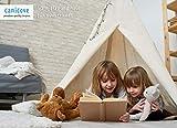 Canicove Tipi Zelt Für Kinder - Faltbares Indoor & Outdoor Set Baumwolle Naturfarben mit Massivholzpfosten & Jux Flaggen für 2 Jungen & Mädchen (Naturfarben) Segeltuch Wigwam - 7