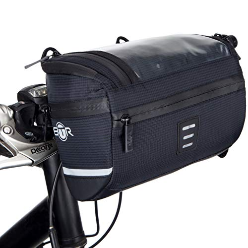 BTR Bicycle Handlebar Bike Bag with Phone Navigation Pocket. Recyclable Cardboard Packaging