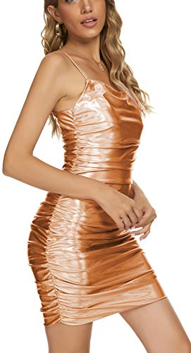 Rozegaga Womens Sexy Scoop Neck Sleeveless Ruched Shimmering Mini Dress Gold Small