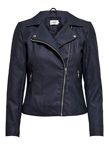 ONLY Damen ONLMELANIE Faux Leather Biker CC OTW Kunstlederjacke, Night Sky, 38