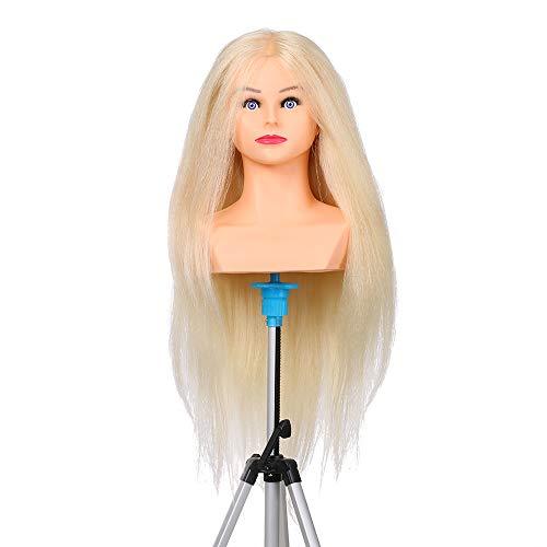 Anself 65cm Cabeza del maniquí Cabello Humano 70% Cabeza Cabeza del maniquí Trenzada para la cabeza del maniquí de cosmetología profesional del peluquero (#1)