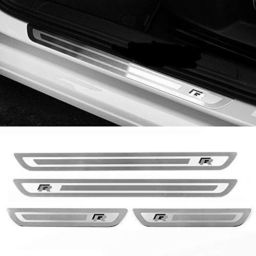 GOINUS 4 Stück Rostfreier Stahl Auto Einstiegsleisten Türschwelle für VW Golf 7 7R, Türschweller Pedal Schützen Leisten Schweller Schutz Aufkleber