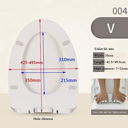 HYDD Universele toiletbril met softclose, gemakkelijk te verwijderen, gemakkelijk te reinigen, vierkante wc-bril in V-vorm, U-vorm