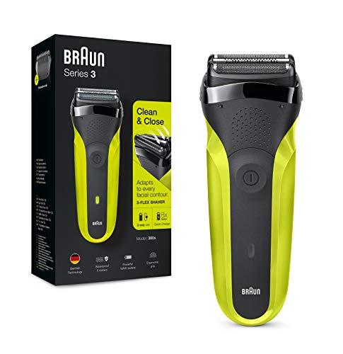 Braun Series 3 300 Rasoio Elettrico Barba con 3 Lame Flessibili, Ricaricabile e senza Fili, Rasoio Elettrico a Lamina Lavabile, Nero/Verde Elettrico