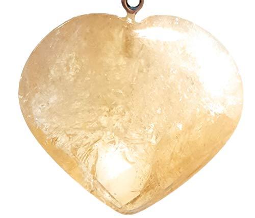 Colgante Forma de Corazón de Cuarzo Citrino Potenciado Piedra Auténtica Collar