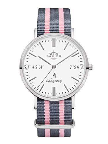 Sailor Damen Herren Uhr Edition Langeoog Analog Quarz mit Nylon Armband Silber, SL101-1085-40