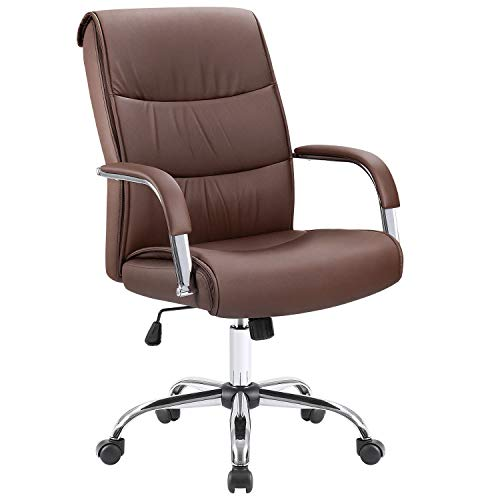 Furmax High Back Office Desk Chair Conference Leather Executive with Padded Armrests, Adjustable Ergonomic Swivel Task Chair with Lumbar Support (Brown)