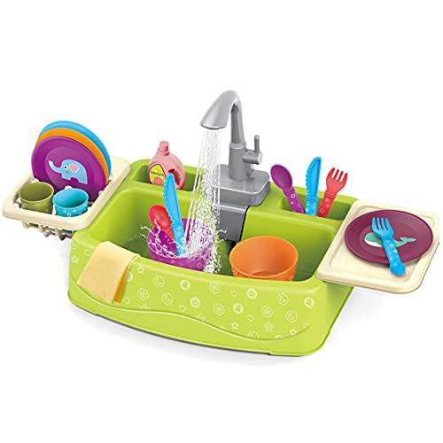 WZQZ Juega Juguetes De Fregadero para Niños, Lavavajillas Plástico Jugando Juguete con Agua Corriente, Grifo De Trabajo Y Drenaje, Regalos Educativos para Niñas.