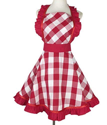 CRB Fashion Damen Schürze Retro Vintage Sexy Flirty Backen Küche Kochen rot