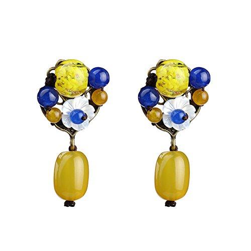 BAGEHAN chinesischen Stil/gelber Achat/Glasperlen/Chalcedon/Ohrringe/Ohrstecker/Weiblich/Small/Ohrringe/Länge 42 mm, gelb