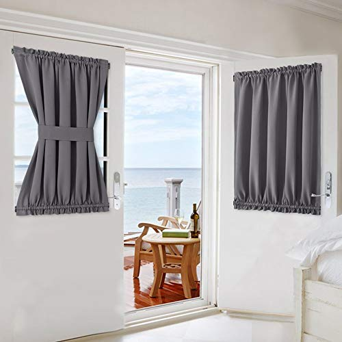 NICETOWN Door Window Curtain Rod Pocket Privacy Shades, Thermal Insulated Blackout Small Window Treatment Skylight Blinds (54W x 40L, Grey, Tie Back Included, 1 Panel)