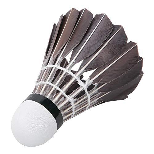 Keenso Feather Badminton Shuttlecock, Confezione da 12 Black Goose Feather Badminton Shuttlecock Sport Training Alta velocità(Nero)