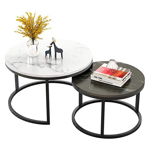 WUKALA 727/5000 Furniture Nesting Tables With 2 Tables, Couch Table MDF Round Side Table Small Coffee-tea Table For Living Room (white And Black)