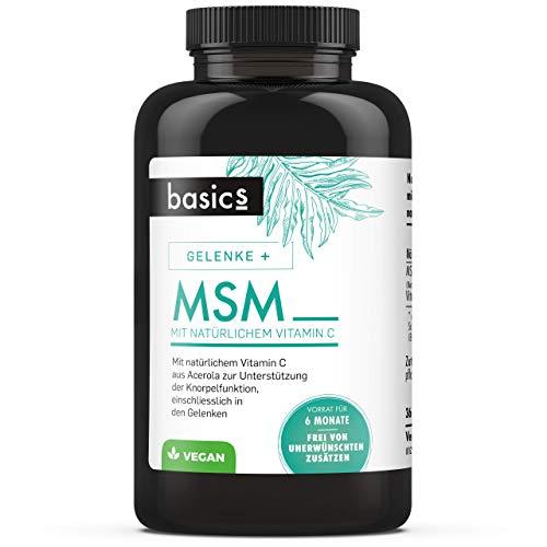 basics MSM Kapseln hochdosiert - Acerola Vitamin C - 1600mg MSM pro Tagesdosis (365 Kapseln)