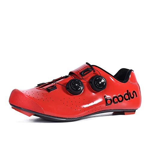 Zapatillas de Bicicleta Montaña Fibra Carbono Calzado Bicicleta Zapatos de Bicicleta Antideslizantes Transpirables para Hombres para Ciclismo Carretera de montaña A,Red,39