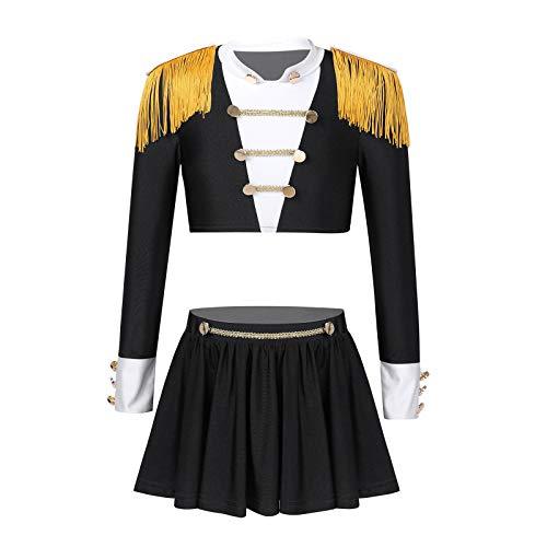 inlzdz Traje para Danza Niña Crop Top + Falda Plisada Maillot Baile Disfraz de Circo Traje de Bailarina Actuación Niñas Pequeñas Negro 5-6 años
