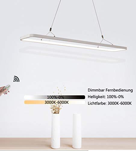 Dimmable LED Lampe suspension salle à manger moderne Lustre design rectangulaire Télécommande lumineuse Table d'étude éclairage de la salle Lampe en acrylique Métal Blanc 46W 3000K-6000K