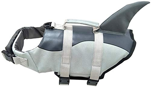 ChezAbbey Dog Life Jacket Adjustable Dog Lifevest Swimsuit Safety Vest Apparel Lifesaver Preserver Coat for Small Large Cats Puppy with Handle Reflective for Swimming and Boating Shark Grey XS