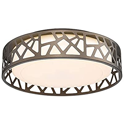 LED Flush Mount Ceiling Light, VICNIE 14 Inch 20W Dimmable Round Deco Lighting Fixture Oil Rubbed Bronze Finished,1400 Lumens 3000K Warm White, ETL Listed for Kitchen, Hallway, Bedroom, Stairways