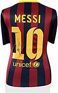 66acefe34 Lionel Messi Signed 2013 14 Barcelona Shirt - With Fan Style Number 10  (Style 1) - Autographed Soccer Jerseys at Amazon s Sports Collectibles Store
