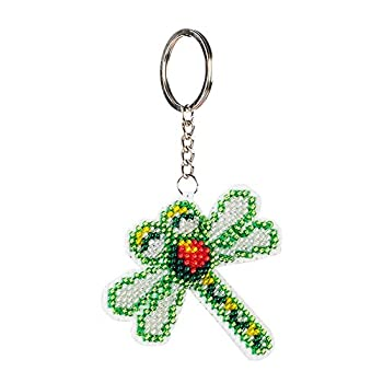 DIY Keychain Ornaments Beaded Cross Stitch Christmas Gifts Full Beaded Embroidery Key Ring Dragonfly Handcraft Stamped Needlework Kit Art Embroidery Starter Kits for Kids Adults