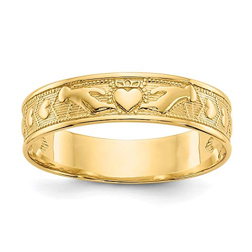 14k Yellow Gold Irish Claddagh Celtic Knot Wedding Ring Band Size 8.50 Fine Jewelry For Women Gifts For Her