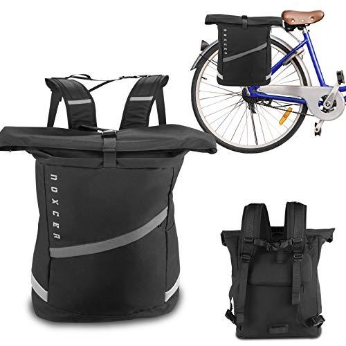 Noxcer 2in1 Fahrradtasche für Gepäckträger & Rolltop Rucksack | 25L Volumen Wasserabweisend Reflektierend | Gepäckträgertasche fürs Fahrrad | Rucksack mit Laptopfach Uni Schule Arbeit | Damen Herren
