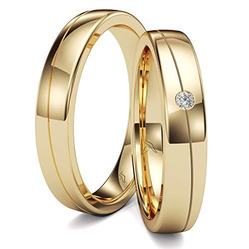 KOLIBRI RINGS GOLD- Eheringe Paarpreis Gold 333 Massiv mit Diamant 4mm Breit 1,5mm Stark Trauringe Verlobungsringe Partnerringe 100{2d2ea38d0a79612192fc26b878c3862c390c3d2e1c51556f68db931da3331e42} Made in Germany- Inkl. Gratis Etui + Gravur + Zertifikat