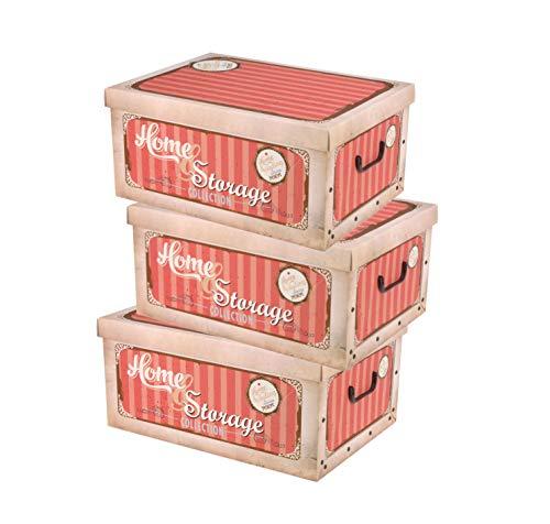 Spetebo 3er Set Aufbewahrungsbox in 3 Farben und Retro Dekor mit jeweils 45 Liter Inhalt - Deko Box Home & Storage