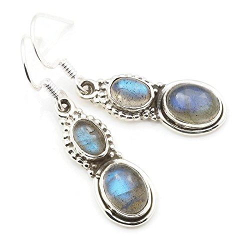 Labradorit Ohrringe 925 Silber Sterlingsilber Ohrhänger grün blau (MOH 117-05)