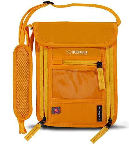 Brustbeutel Brusttasche mit RFID-Blockierung für Damen Herren I wasserabweisend flach leicht I wasserdichter Umhängegeldbeutel Reisegeldbeutel Neck Pouch I VAN BEEKEN Reise-Pass-Tasche (Orange)