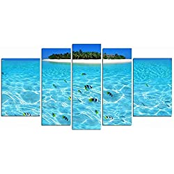 Startonight Glass Wall Art Acrylic Decor the Island, and a Contemporary Clock Set of 5 Total 35.43 X 70.87 Inch 100% Original Beach Artwork the Ultimate Wall Art