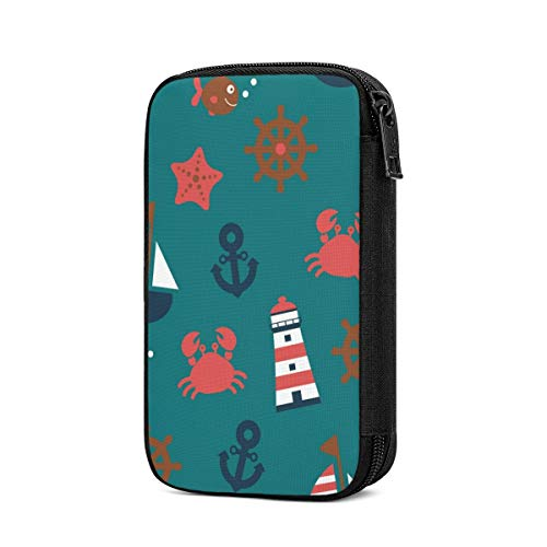 Electronics Organizer Nautical Sailboat Crab Cartoon Cute Electronic Accessories Cable Organizer Case Bag Double Layer Travel Cable Storage Bag for Cables, Laptop Charger, Tablet Thick Large