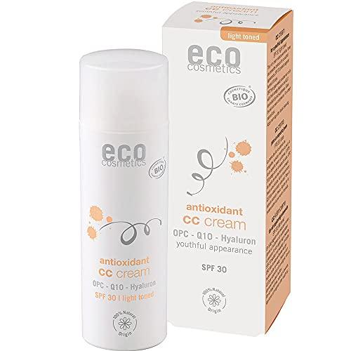 eco cosmetics Bio CC Cream, Tagescreme getönt hell mit OPC, Q10 und Hyaluronsäure, vegane Anti Faltencreme, LSF 30, 1x 50ml