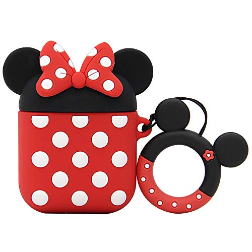MC Fashion AirPods Case, Cute Cartoon AirPods Silicone Case Shockproof Protective Skin for Apple AirPods Charging Case 1&2 with Ring Lanyard (Minnie Mouse)