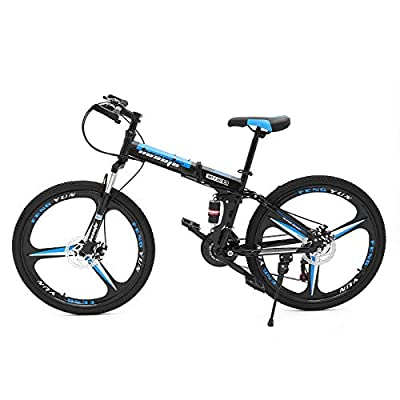 hosote 26 Inch Folding Mountain Bike, Full Suspension Carbon Steel Frame Mountain Bicycle, 21 Speed Dual Disc Brake MTB Bikes for Adults and Teens, 3-Spoke Black/Red