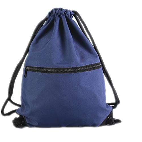 Navy Drawstring Backpack Gym Sack Bags With Zipper Pockets