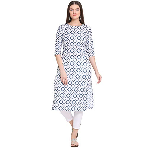 ANNI DESIGNER Women's White Cotton Straight Calf Length Block Printed...